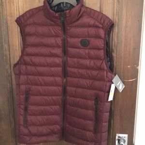 Micheal Kors down vest burgundy and navy med NWT